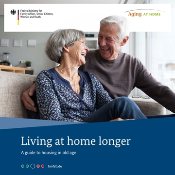 Title of a brochure. An elderly woman and a senior man are sitting on a sofa and smiling. Link opens the picture enlarged in a lightbox.