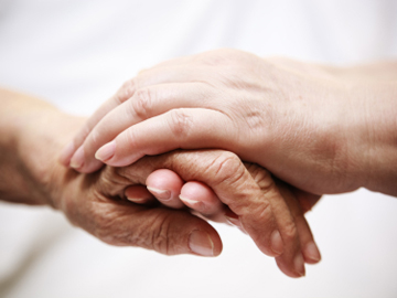 A young hand holds an older hand.